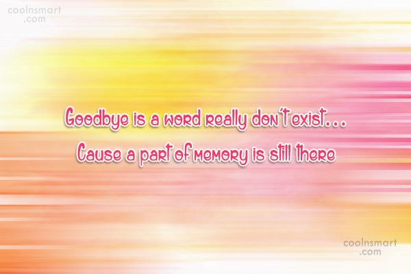 Goodbye Quote: Goodbye is a word really don't exist…...