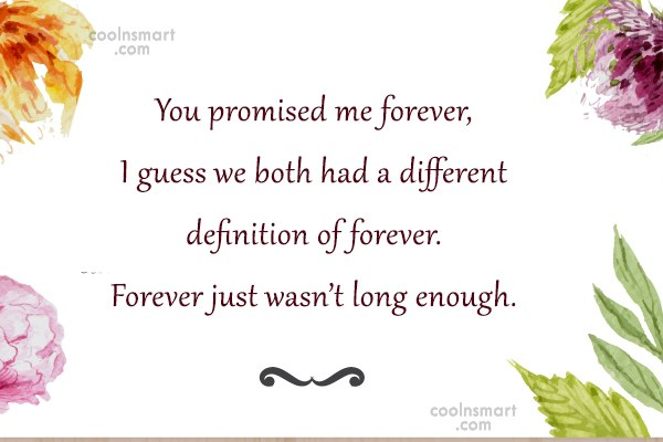 Goodbye Quote: You promised me forever, I guess we...