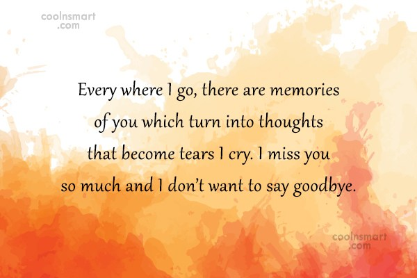 Goodbye Quote: Every where I go, there are memories...