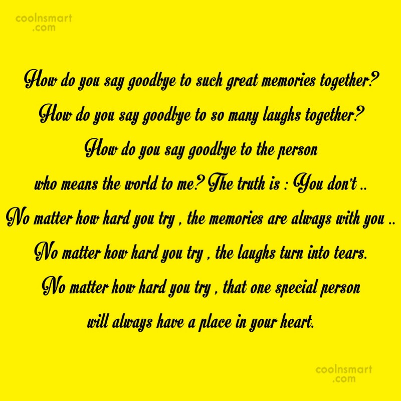 Quote: How do you say goodbye to such...