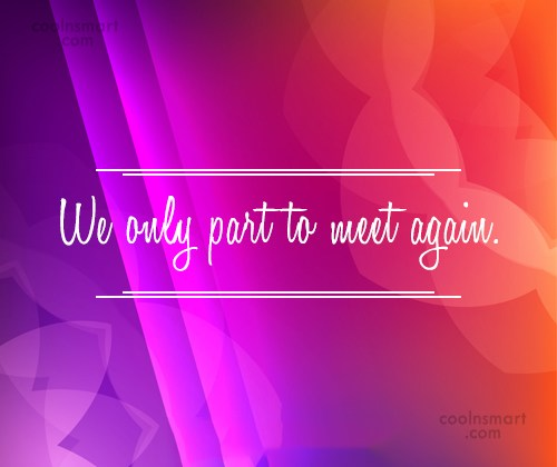 Goodbye Quote: We only part to meet again.