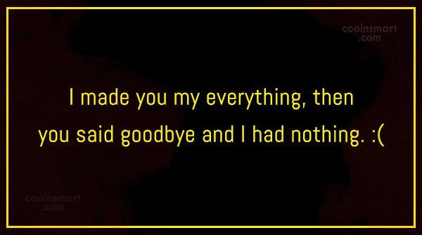 Goodbye Quote: I made you my everything, then you...