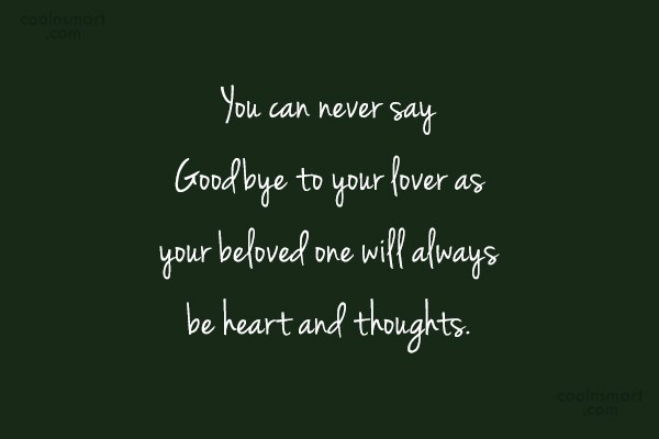 Quote: You can never say Goodbye to your...
