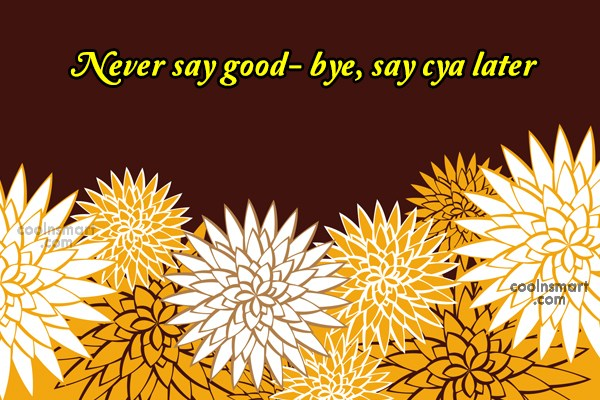 Goodbye Quote: Never say good- bye, say cya later