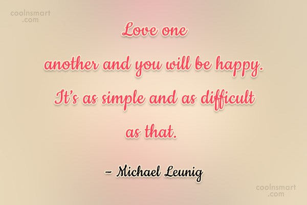 Wedding Quote: Love one another and you will be...