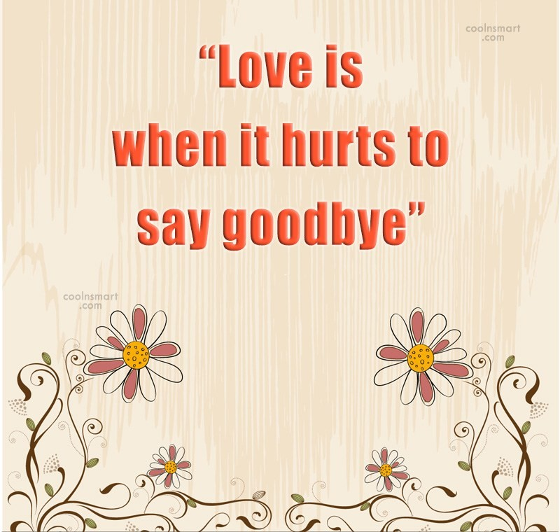 I Love You Goodbye Quotes 2009 : Quote: ?Love is when it hurts to say...