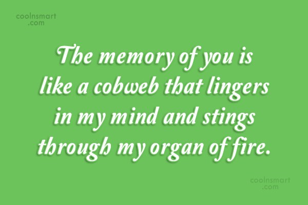 Quote: The memory of you is like a...