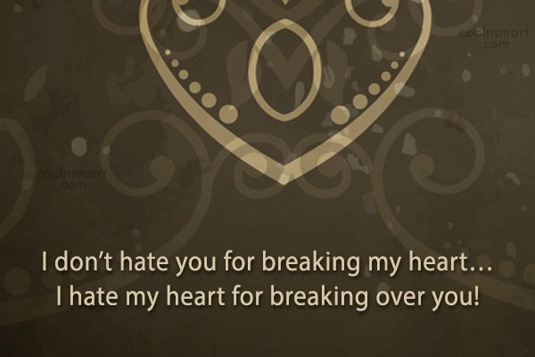 Quote: I don't hate you for breaking my...