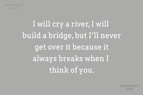 Quote: I will cry a river, I will...