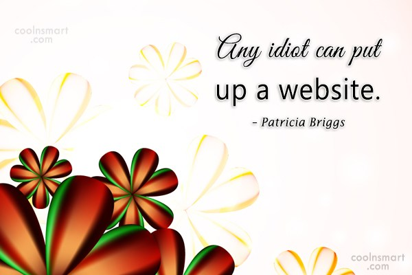 Quote: Any idiot can put up a website....