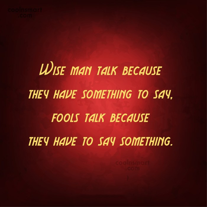 Clever Quote: Wise man talk because they have something...