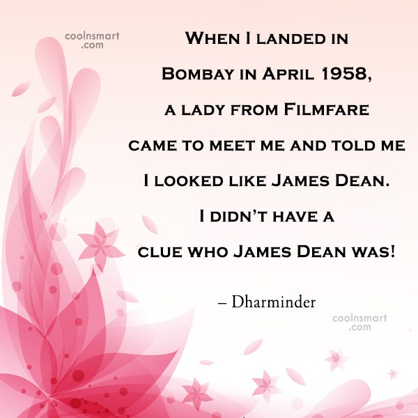 Quote: When I landed in Bombay in April...