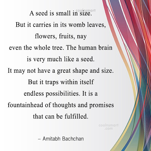 Quote: A seed is small in size. But...