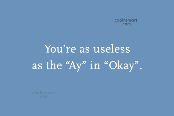 """Images Quote: You're as useless as the """"Ay"""" in..."""