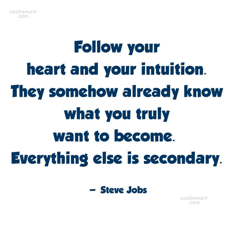 Quote: Follow your heart and your intuition. They...