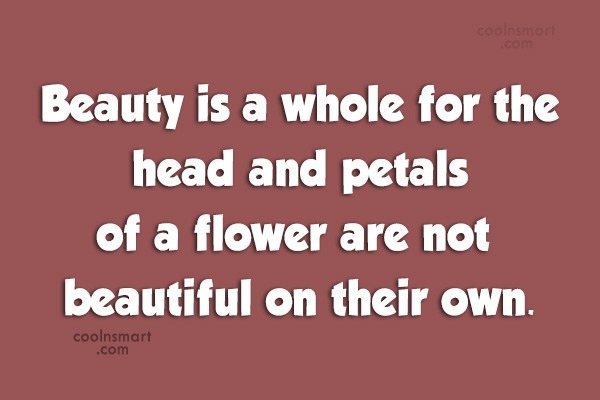Quote: Beauty is a whole for the head...