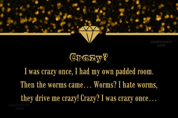 Stupid Quote: Crazy? I was crazy once, I had...