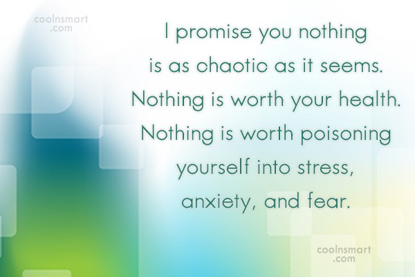 Stress Quote: I promise you nothing is as chaotic...
