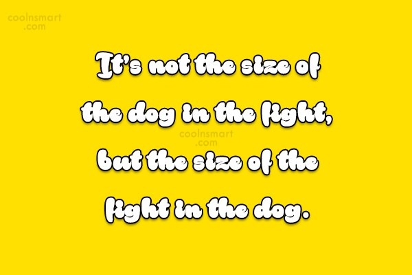 Soccer Quote: It's not the size of the dog...