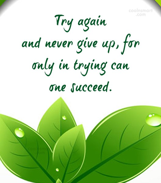 Effort Quote: Try again and never give up, for...