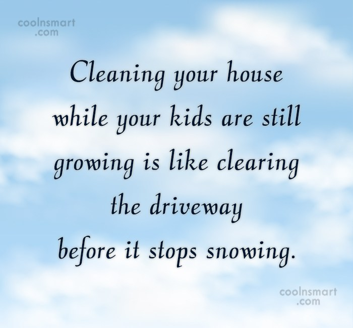 Stupid Quote: Cleaning your house while your kids are...