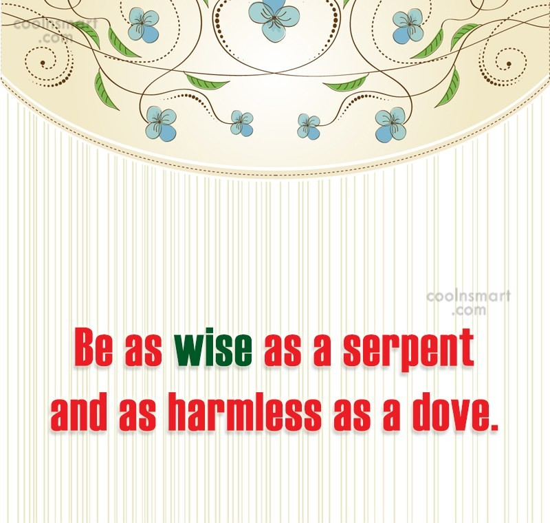 Quote: Be as wise as a serpent and...