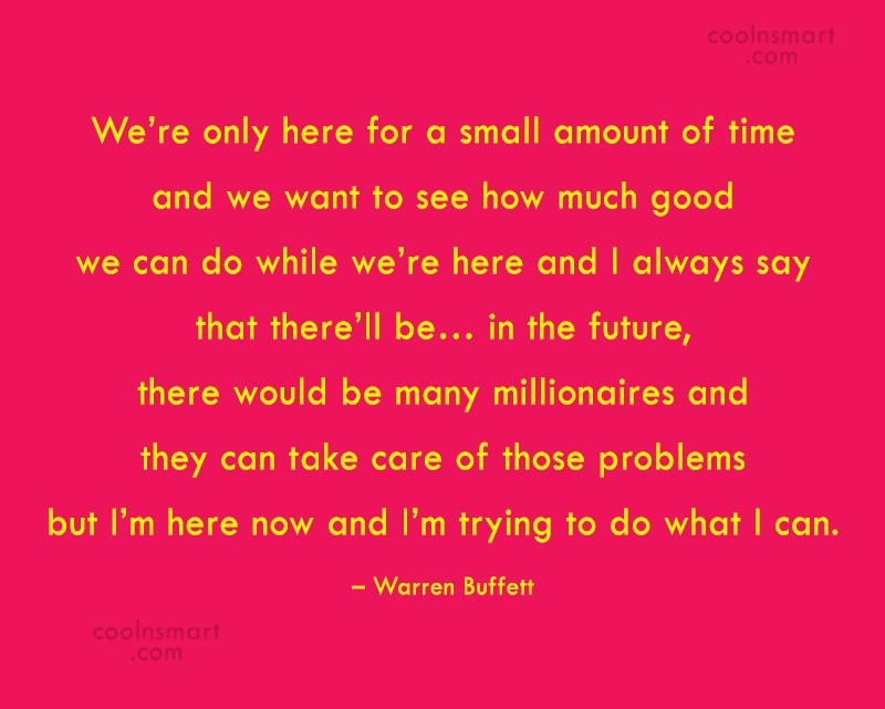 Quote: We're only here for a small amount...