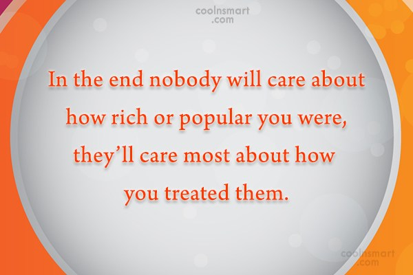 Quote: In the end nobody will care about...