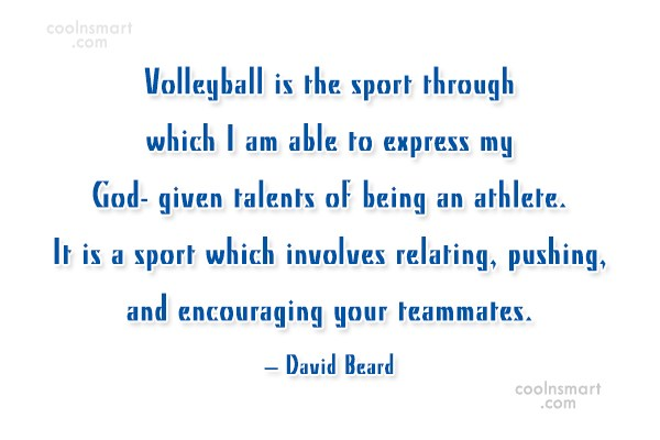 Quote: Volleyball is the sport through which I...