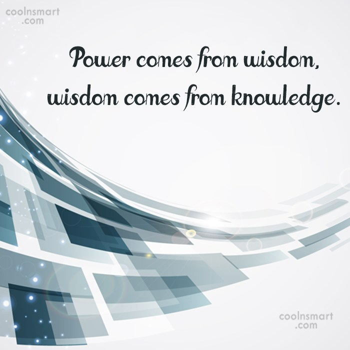 Power Quote: Power comes from wisdom, wisdom comes from...