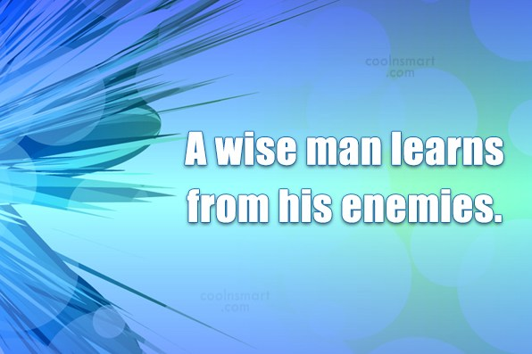 Quote: A wise man learns from his enemies.
