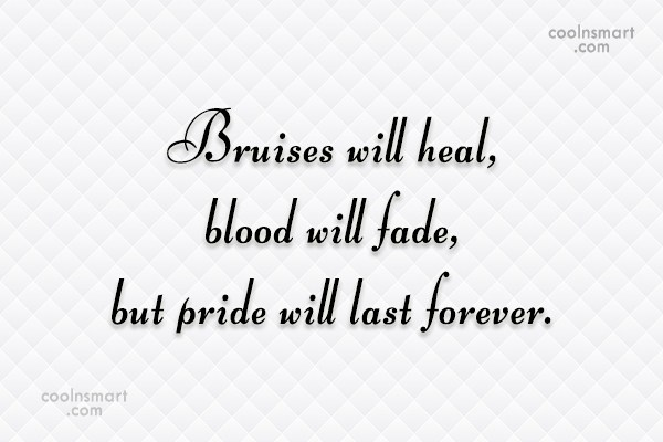 Quote: Bruises will heal, blood will fade, but...