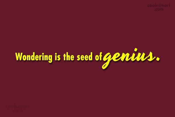 Quote: Wondering is the seed of genius.