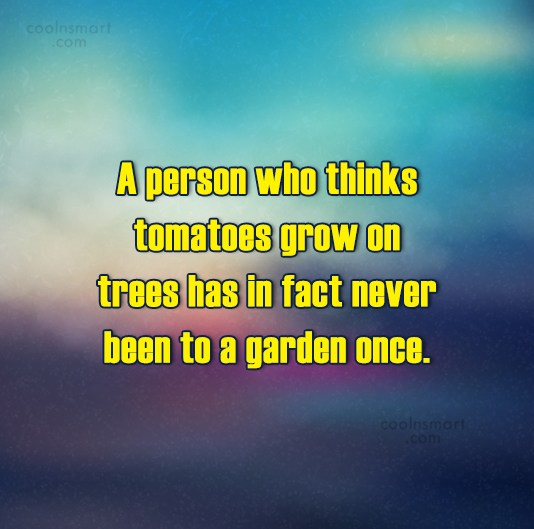 Gardening Quote: A person who thinks tomatoes grow on...