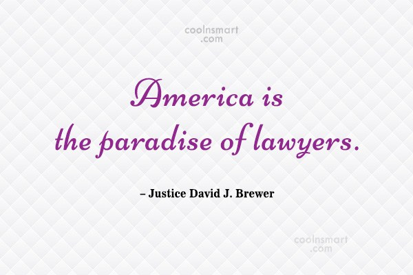 America Quote: America is the paradise of lawyers. –...