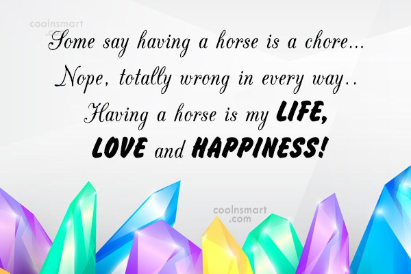 Quote: Some say having a horse is a...