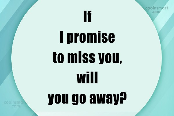 Sarcastic Quote: If I promise to miss you, will...