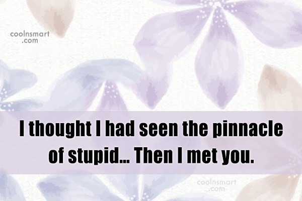Sarcastic Quote: I thought I had seen the pinnacle...