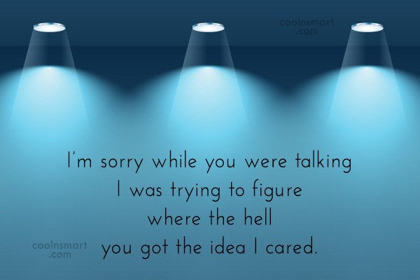 Sarcastic Quote: I'm sorry while you were talking I...