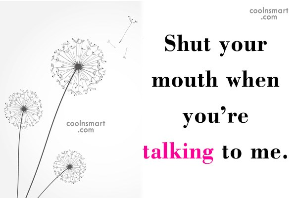 Sarcastic Quote: Shut your mouth when you're talking to...
