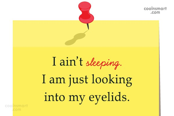 Sarcastic Quote: I ain't sleeping. I am just looking...