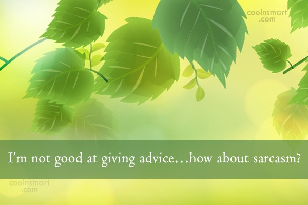 Sarcastic Quote: I'm not good at giving advice…how about...