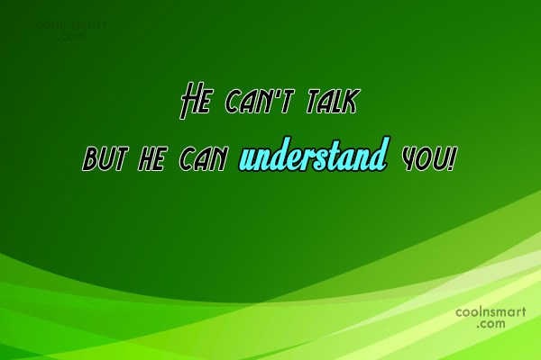 Quote: He can't talk but he can understand...