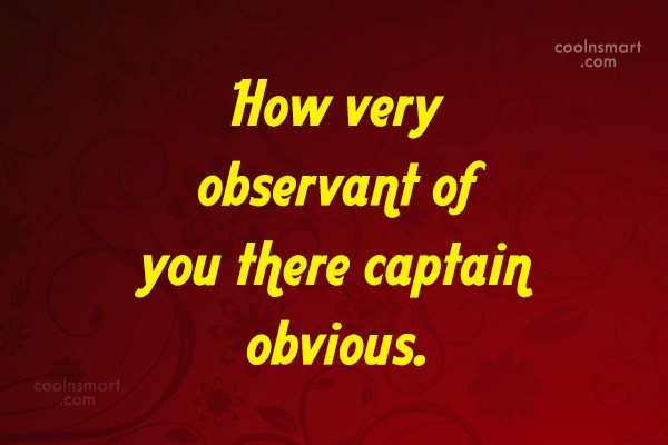 Sarcastic Quote: How very observant of you there captain...
