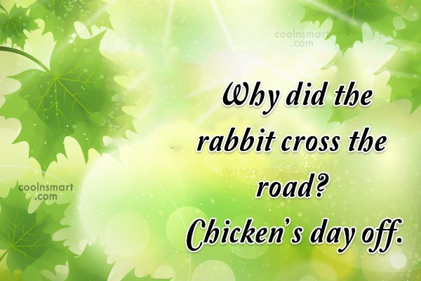 Quote: Why did the rabbit cross the road?...