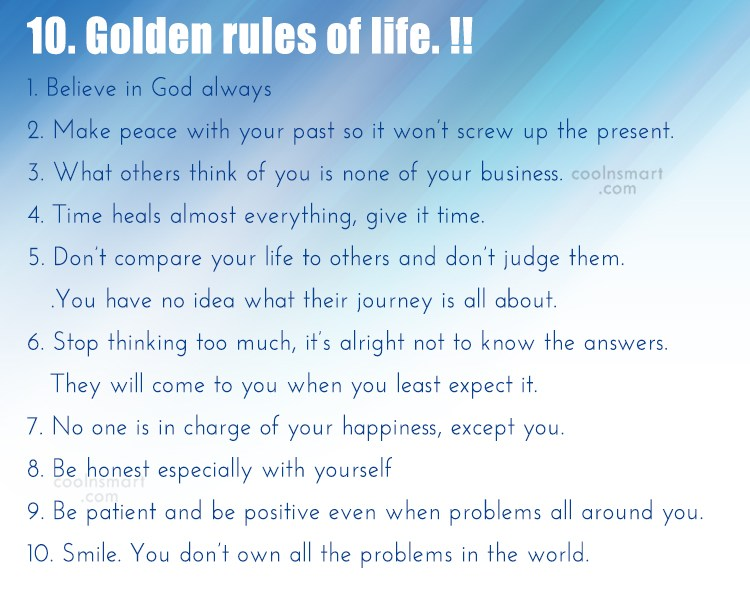 Life Quote: 10. Golden Rules Of Life. !! 1.