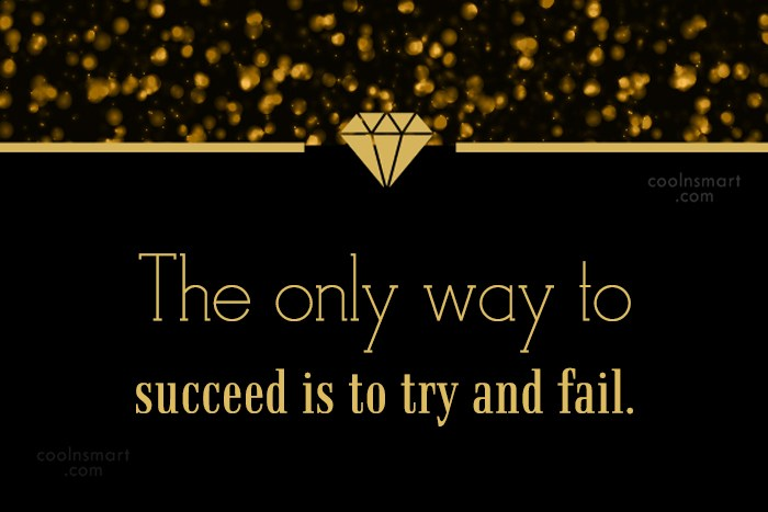 Quote: The only way to succeed is to...