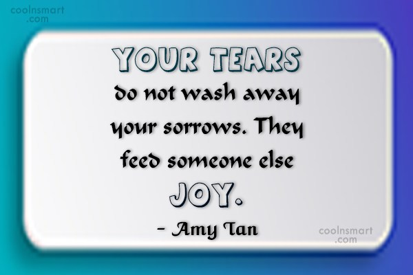 Joy Quote: Your tears do not wash away your...
