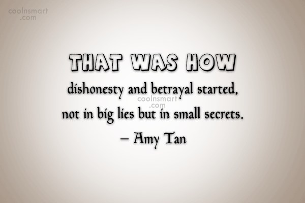 Lie Quote: That was how dishonesty and betrayal started,...