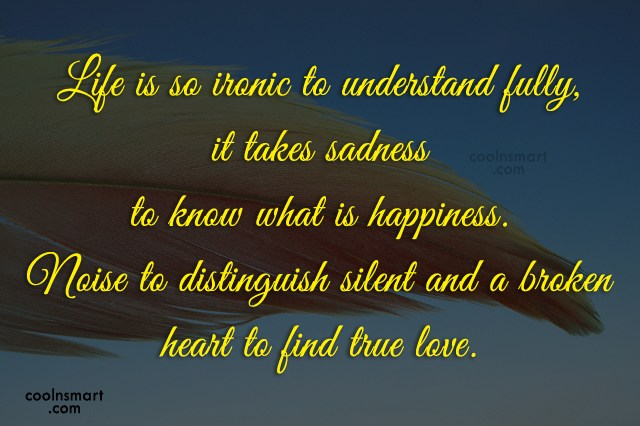 Happiness Quote: Life is so ironic to understand fully,...